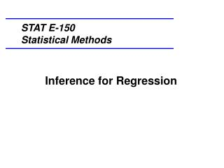 Inference for Regression
