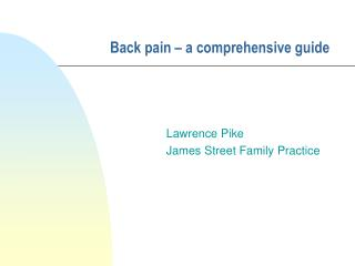 Back pain – a comprehensive guide