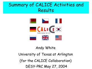 Summary of CALICE Activities and Results