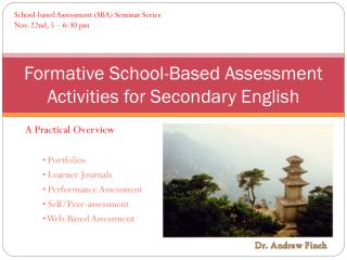 Formative School-Based Assessment Activities for Secondary English