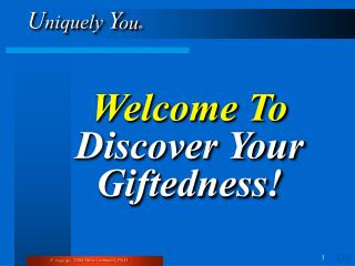 Welcome To  Discover Your Giftedness!