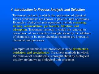 4  Introduction to Process Analysis and Selection