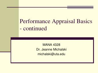 Performance Appraisal Basics - continued