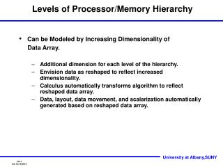 Levels of Processor/Memory Hierarchy