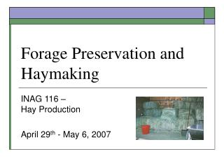 Forage Preservation and Haymaking