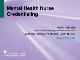 Mental Health Nurse Credentialing