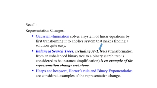 Recall: Representation Changes: