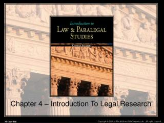 Chapter 4 – Introduction To Legal Research