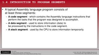 1.4	INTRODUCTION TO PROGRAM SEGMENTS