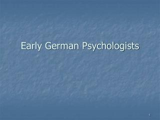 Early German Psychologists
