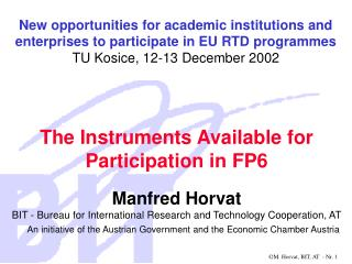 The Instruments Available for Participation in FP6
