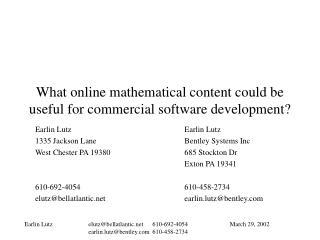What online mathematical content could be useful for commercial software development?