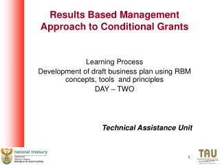 Results Based Management Approach to Conditional Grants