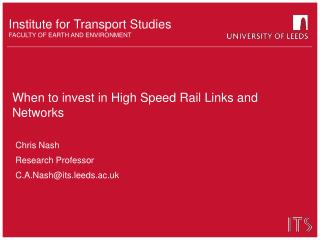 When to invest in High Speed Rail Links and Networks