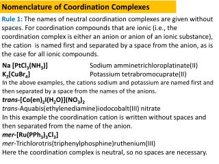 Nomenclature of Coordination Complexes