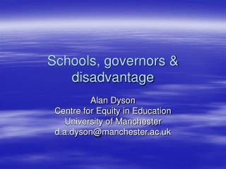 Schools, governors & disadvantage