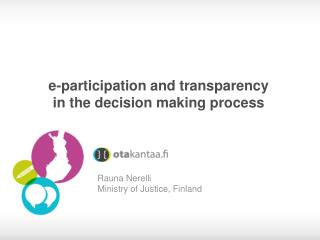 e-participation and transparency in the decision making process