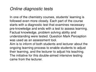Online diagnostic tests