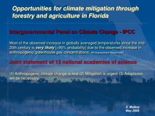 Opportunities for climate mitigation through forestry and agriculture in Florida