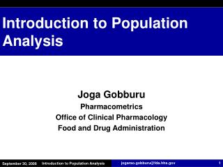 Introduction to Population Analysis
