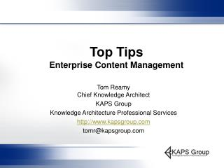 Top Tips   Enterprise Content Management