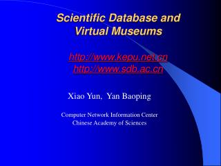 Scientific Database and  Virtual Museums kepu sdb.ac