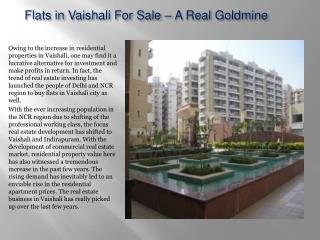 Flats in Vaishali For Sale – A Real Goldmine