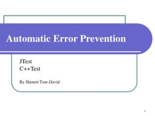 Automatic Error Prevention
