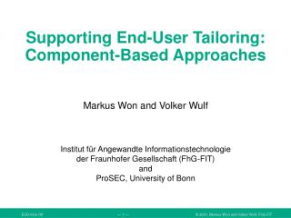 Supporting End-User Tailoring:  Component-Based Approaches