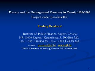 Poverty and t he Underground Economy in Croatia 1990-2000  Project leader Katarina Ott