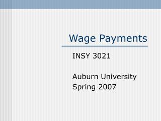 Wage Payments