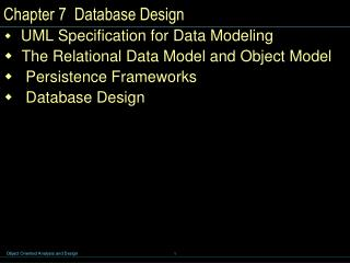 Chapter 7  Database Design