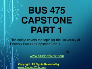 BUS 475 Capstone Exam Part 1