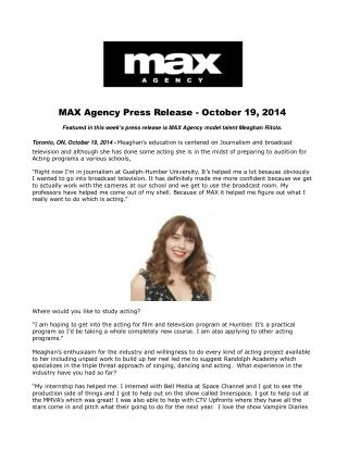 MAX Agency Press Release - October 19, 2014