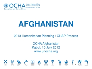 AFGHANISTAN 2013 Humanitarian Planning / CHAP Process OCHA Afghanistan Kabul, 10 July 2012