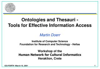 Ontologies and Thesauri -  Tools for Effective Information Access