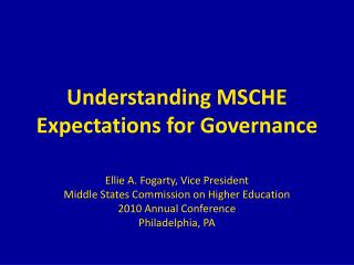 Understanding MSCHE Expectations for Governance