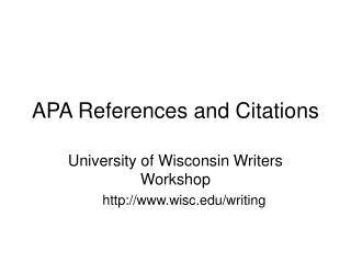 APA References and Citations