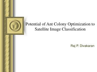 Potential of Ant Colony Optimization to Satellite Image Classification