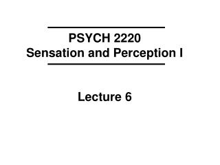 PSYCH 2220 Sensation and Perception I Lecture 6