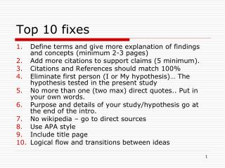 Top 10 fixes