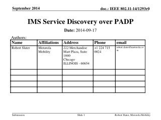 IMS Service Discovery over PADP