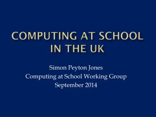 Computing at school in the UK