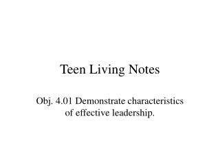 Teen Living Notes