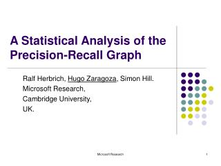 A Statistical Analysis of the Precision-Recall Graph