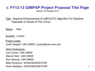 a.  FY12-13 GIMPAP Project Proposal Title Page version 18 October 2011