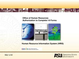 Office of Human Resources Authorization to Complete I-9 Forms