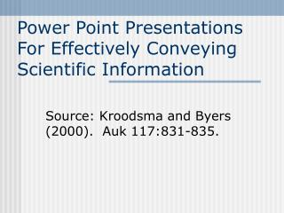 Power Point Presentations For Effectively Conveying Scientific Information