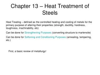 Chapter 13 – Heat Treatment of Steels