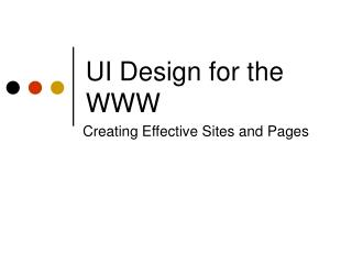 UI Design for the WWW
